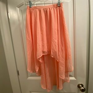 Peach coral light airy high low skirt